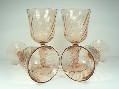 4 Arcoroc Rosaline Water Goblets Pink Depression Glass Swirl France