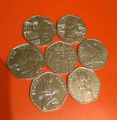 2018 Set 7x UK New 50p Coins Full Set  Beatrix Potter, Act & Pair Paddington UNC