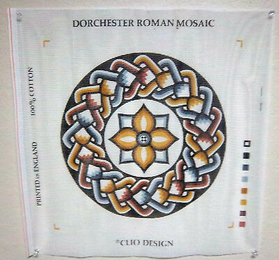 Clio Design Needlepoint canvas, Dorchester Roman Mosaic Tapestry kit with thread