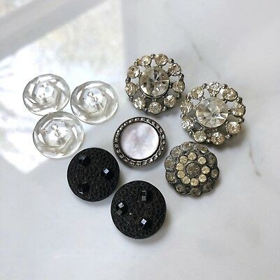 Antique Buttons Rhinestone Paste Stones Black Glass Mixed Set Lot 1800s 1900s