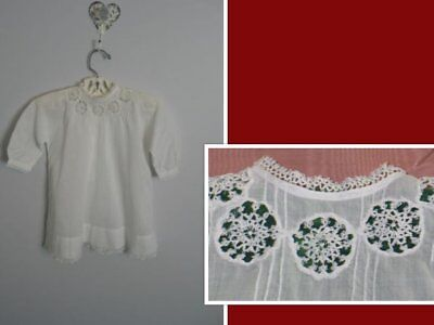 AMAZING Antique Baby Dress~Christening Baptismal Gown-TATTED Lace-LG Doll Bear