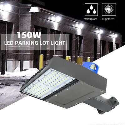 18000LM Outdoor LED Street Light 150W Commercial IP68 Dusk to Dawn Shoebox Lamp