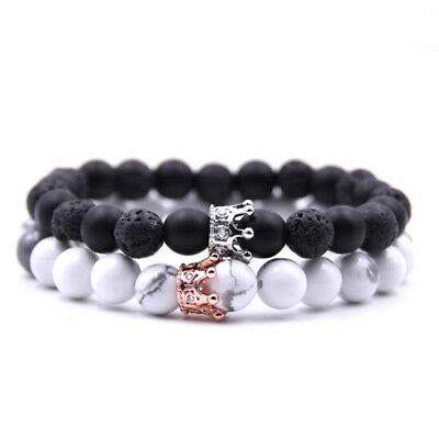 Couple Bracelet Charms Natural Stone Beads Jewelry Crown Bracelet For Men Women