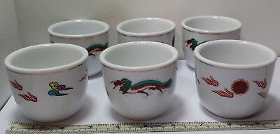 6 Vintage Chinese Cathay Guoguang Sake / Tea Cups Dragon Restaurant Ware. 6 Cups