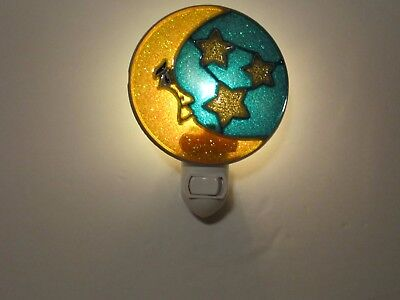 Beautiful Moon Stained Glass Style Night Light