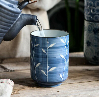 """4"""" Japanese Handcraft Blue And White Leaves Painted Porcelain Sushi Tea Cups EB"""