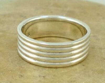 WIDE .925 STERLING SILVER STACK 5 BAND RING size 9  style# r1558
