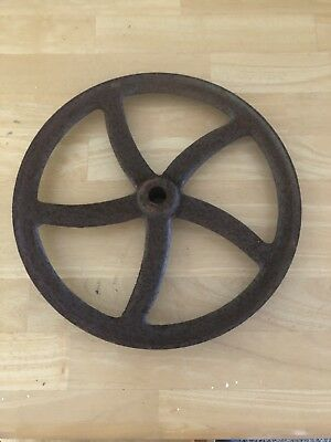Large Vintage Industrial Gear Cast Iron Pulley Wheel Steampunk Repurpose 1890