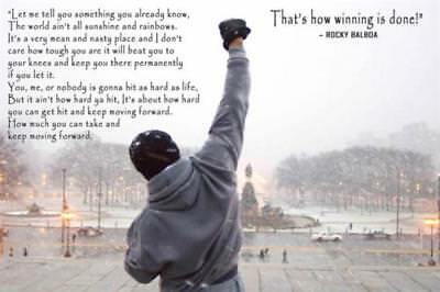 Art Poster Rocky Balboa Motivational Quote Sylvester Stallone Hot Silk 36in T307