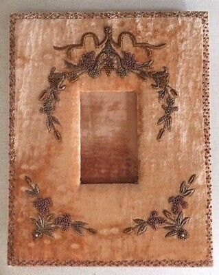 Antique French Italian Silk Velvet Picture Frame Coral Gold Bullion Embroidery