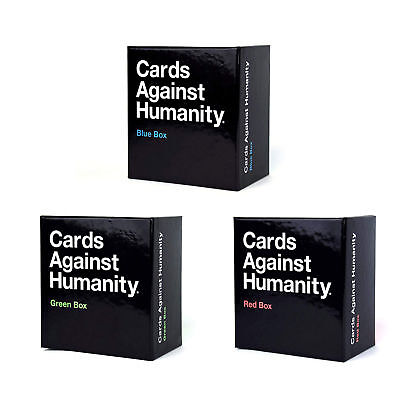 Cards Against Humanity UK Expansion Box (Red, Blue,Green) Brand New Adult Party