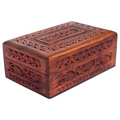 """Wooden Jewelry Box Handcarved Antique Wooden Box 6"""" Accessory Jewelry Organizer"""