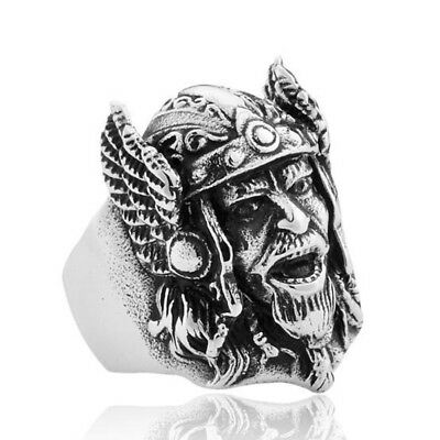 Vintage Silver Viking Pirate Skull Head Mask Punk Men's Jewelry Finger Rings
