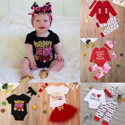 US Valentine's Day Newborn Baby Girl Romper Bodysuit Tutu Skirt Outfit Clothes