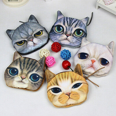 3D Cute Wallet Bag Animal Face Zipper Mini Cat Coin Purses Dog Purse Plush TT