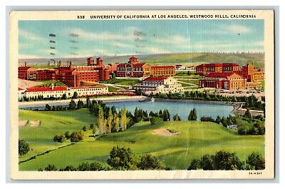 University of California at Los Angeles Westwood Hills Linen 1930's Postcard J15