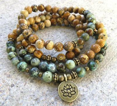 African Turquoise Picture stone Bracelet men natural MONK Lucky energy Tassel