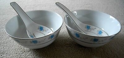 Pair of Vintage Ceramic Chinese Bowls and Spoons with Blue Floral Decoration