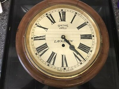 "Antique 16"" Smiths Railway Station / School Round Dial Wall Clock"