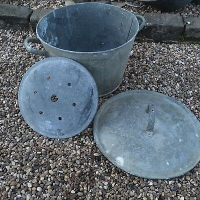 Antique Old Vintage Galvanised Washing Bucket With Lid & Strainer Planter