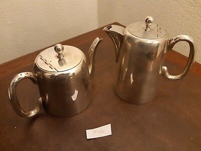 Vintage Silver Plated Epns Hard Soldered Sheffield Teapot & Coffee Pot T16