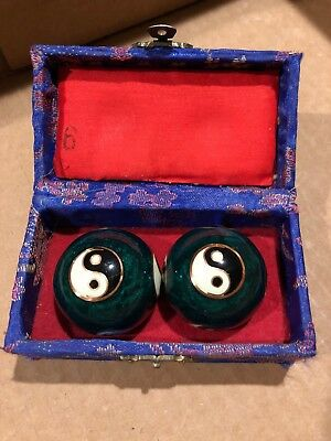 Chinese Baoding Cloisonne Green Yin Yang Health Balls Stress Therapy Musical