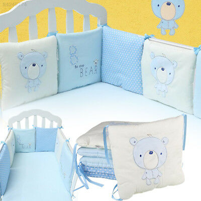 B052 6pcs/set Comfortable Cute Baby Crib Cotton Bumper Nursery Care Bedding