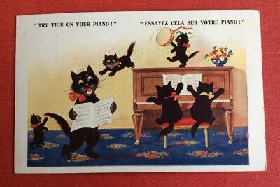 CPA. CPSM. Chats Noirs. Piano. Chatons. Tambourin. Florence House. Barnes. 6898