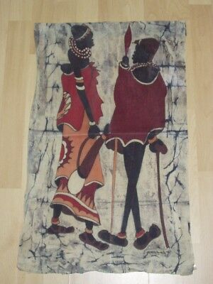 Vintage BATIK African Woman & Baby & Hunter Textile Wall Hanging Art Signed