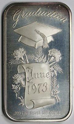 June 1973 Graduation Madison Mint .999 Fine Silver Art Bar - 1 Troy oz