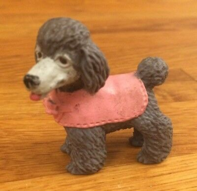 Puppy In My Pocket Dark Grey Poodle Dog Figure in Pink Outfit