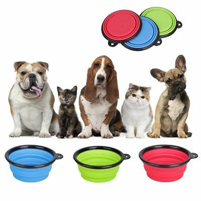 Portable Travel Collapsible Foldable Pet Dog Bowl for Food & Water Bowls Dish JR