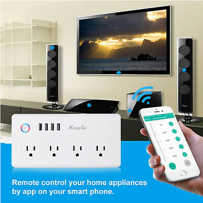 WiFi Smart Power Strip Surge Protector 4 USB & 4 AC Outlets Work With Alexa Home