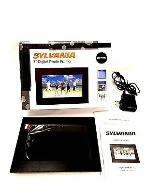 Sylvania 7 inch Digital Photo Frame Calendar & Clock Black 480 x 234 SDPF7977