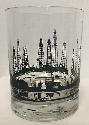 Vintage Mid Century Modern Double Old Fashioned Glasses Oil Rig Drilling Whiskey