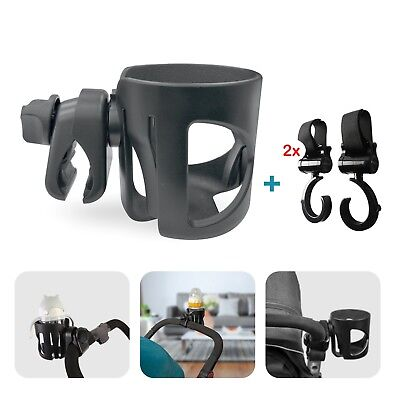 Pram Cup Holder With 2 Pram Hooks Universal Fit For Any Baby Buggy, Wheelchair