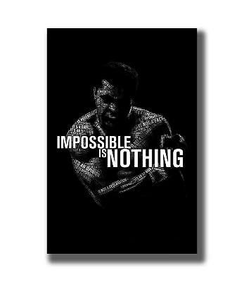 24x36 Inch Muhammad Ali Quote Impossible is nothing Fabric Poster Art TY387