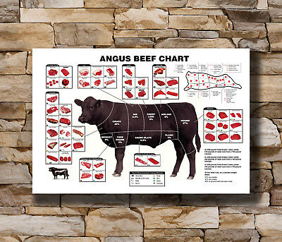 Hot Beef Cuts Diagram Cooking Meal New Art Poster 40 12x18 24x36 T-629