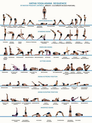 Art Poster Yoga Exercise Bodybuilding Chart 24x36 27x40inch Wall Silk Decor N777