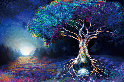 Poster 24x36 27x40  Psychedelic Trippy Tree Pattern Visual Mind Manifesting T-87