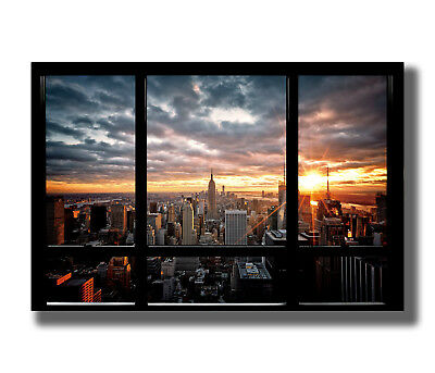 New York City Sunset Window View Cityscape Fabric Poster Art TY136 - 20x30 24x36