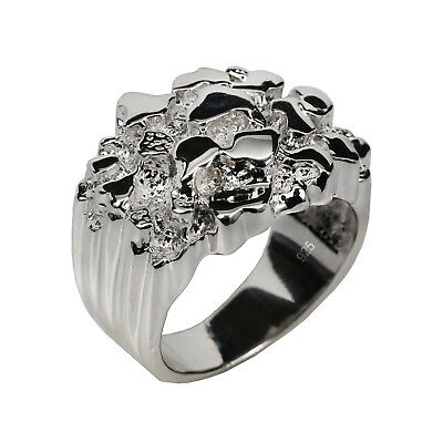 Men's REAL Solid 925 Sterling Silver Heavy Nugget Ring sz 6 7 8 9 10 11 12 Pinky