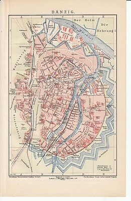 c. 1890 Poland Gdansk Germany Danzig City Plan Antique Map