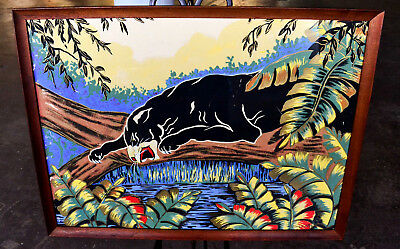 Mid Century Jungle Black Panther Original Serigraph, Signed