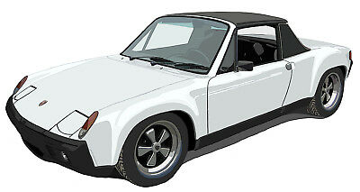 Porsche 914-6 GT canvas art print by Richard Browne - White