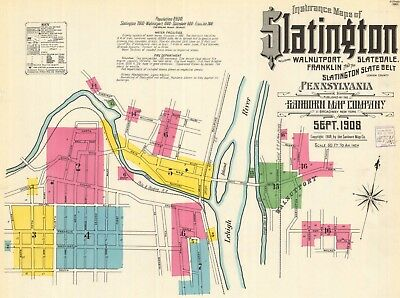 Slatington, Pennsylvania~Sanborn Map©~16 map sheets~in color
