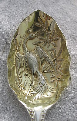 Vintage Sheffield Silver Plate Serving Spoon Chinoiserie Peacock Embossed Bowl