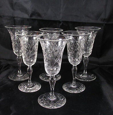 Antique Signed Hawkes Cut Glass Cordial Wine Stems Set 6 Floral Leaves Berries