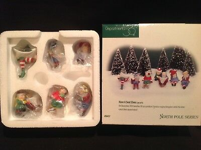 "Dept 56 North Pole series ""Have a seat elves"" set of 6, 56437, MIB retired"