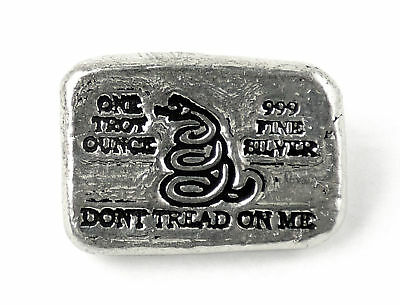 """Don't Tread On Me"" 1 oz .999 Fine Silver Poured Bar"